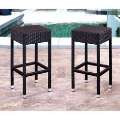 Abbyson Living Kiley Wicker Outdoor Bar Stools - Set of 2 - DL-RBC001-ES-2PCK