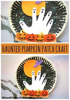 Haunted Paper Plate Pumpkin Patch At Night - Kid Craft Halloween Arts And Crafts, Halloween Crafts For Toddlers, Theme Halloween, Fall Crafts For Kids, Halloween Crafts For Kindergarten, Paper Craft For Kids, Kids Crafts, Halloween Snacks, Halloween Christmas