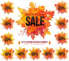 13 watercolor autumn SALE banners by Art-of-Sun on Creative Market