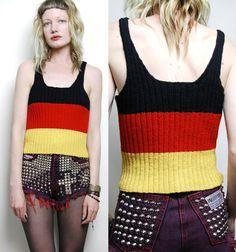 70s Vintage SINGLET TOP Knitted Knit Black Red Yellow Stripe Block Colour Crop Vest Top Grunge Hippie m l. $29.00, via Etsy.