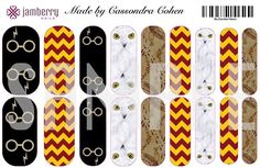 Harry Potter inspired nail wraps.  Design your own in the Jamberry Nail Art Studio. I NEED THESE!!!!! Except Hufflepuff colors instead of Gryffindor
