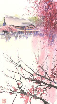 水彩画 美しい日本