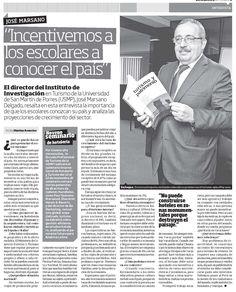 Entrevista al Mg. José Marsano, Director de nuestro Instituto de investigación de Turismo y Hotelería - Diario El Peruano.