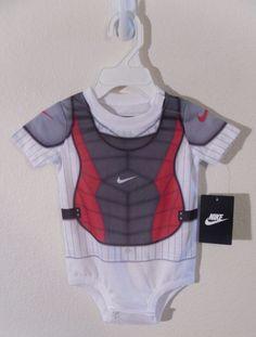 nwt #nike newborn #baby #boy baseball catcher onesie bodysuit 9/12 months msrp$26 from $11.99