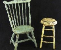 Aged Chair & Stool