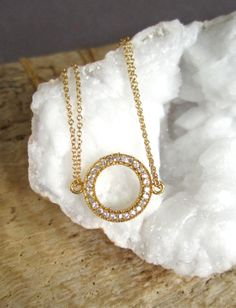 Genuine Pave Diamond Necklace Gold Vermeil Open by julianneblumlo, $135.00