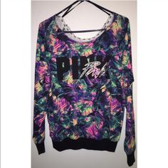 slouchy crew oversized, could fit a medium. fits off the shoulder. worn 2-3 times, rare print from VS! price is firm. PINK Victoria's Secret Tops Sweatshirts & Hoodies
