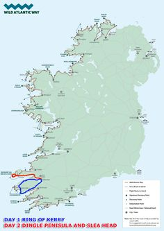Wild Atlantic Way Ring of Kerry and Dingle Peninsula Combined Tour - Deros Wild Atlantic Way Coach Tours Co. West Coast Of Ireland, Ireland Map, Dublin Ireland, Ireland Travel, Ireland With Kids, Love Ireland, Coach Tours, Wild Atlantic Way, County Clare