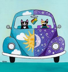 Metaphysical Moon and Sun - Bug Road Trip - Cat Folk Art Painting by…
