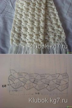 Crochet white scarf ♥LCP-MRS♥ with diagram----Patrones Crochet: Patron Crochet Bufanda I really like this pattern, it looks like fun.Free crochet pattern pattern is for a sweater but can use the general stitch for other projects salvabrani – ar Crochet Diy, Beau Crochet, Patron Crochet, Bonnet Crochet, Crochet Motifs, Crochet Diagram, Crochet Stitches Patterns, Crochet Chart, Scarf Patterns