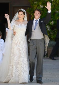 The religious wedding of Felix of Luxembourg and Claire Lademacher ~ I love the detail on her dress and veil, so pretty!