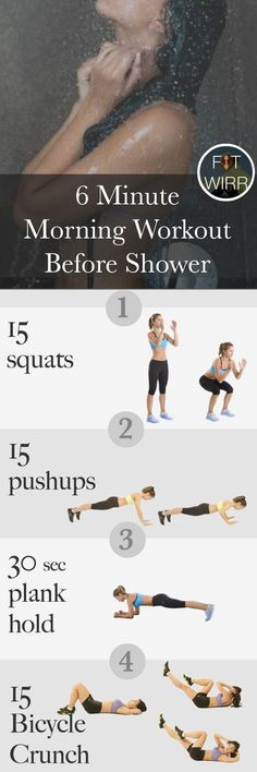 Crush calories and incinerate fat with this 6 minute morning workout routine. Do this short yet intense workout before your morning shower to get in shape. Make sure to check out our fitness tips, nutrition info and more at https://www.getyourfittogether.org/