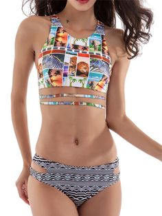 f695bcf56d4c2 Sexy Pattern Printed Bikini Hollow Out Wire Free Fast Stem Vest Swimsuit  For Women