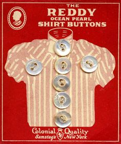 BUTTON | The Reddy Ocean Pearl Shirt Buttons on card from Colonial Quality Samstag's New York