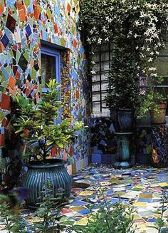Colorful broken tiles patio and walls