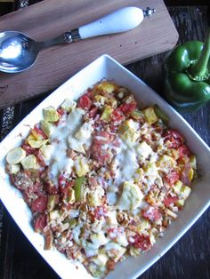 Looking for an easy healthy dinner recipe that the whole family will love? Check out this Ratatouille bake recipe! It's full of delicious vegetables!
