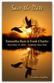 Fall Save The Date Magnets - Ducks In Flight. These Save the Date Magnets highlight two ducks taking flight from a glass looking lake with a golden fall background. Perfection for a Fall Save the Date.