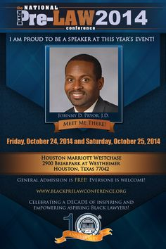 Meet Johnny D. Pryor, J.D., Assistant Dean for Student Affairs, Indiana University Robert H. McKinney School of Law (Indianapolis, Indiana), at the 10th Annual National Black Pre-Law Conference and Law Fair 2014 on Friday, October 25, 2014 and Saturday, October 24, 2014 at the Houston Marriott Westchase in Houston, Texas.  Free of charge! Everyone is welcome! Register today! www.blackprelawconference.org/ #blackprelawconference #lawyerssupportingfuturelawyers