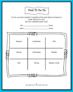 Classroom Freebies Too: Poetic Devices Tic Tac Toe Game