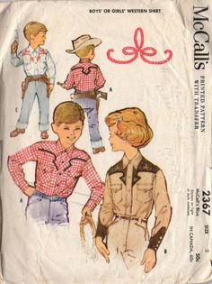 Vintage 1950s Girls or Boys Western Cowboy Shirt McCall's Sewing Pattern 2367 Size 2 Bust 21