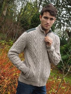 Men's Two Tone Zipper Cardigan by Natallia Kulikouskaya for Aran Crafts of Ireland