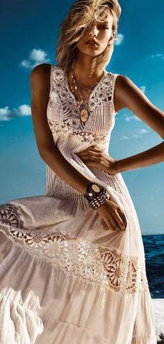Women's fashion | Cream boho crochet maxi dress, accessories