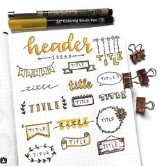 Are you looking for some new bullet journal calligraphy inspiration? We have 25 styles for you to try in your bullet journal! Bullet Journal Writing, Bullet Journal Headers, Bullet Journal Banner, Bullet Journal Aesthetic, Bullet Journal Inspo, Bullet Journal Layout, Daily Journal, Tittle Ideas, Journal Fonts