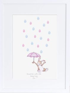 Baby Shower Keepsake art, Rabbit and umbrella thumb/finger print rain drops, Baby shower activity, nursery art, baby decor,custom art, print by mylovebubble on Etsy