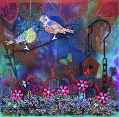 """""""Enchanted Patchwork"""" 12x12 in mixed media art by Donna """"Blacky"""" Blackhall $100"""