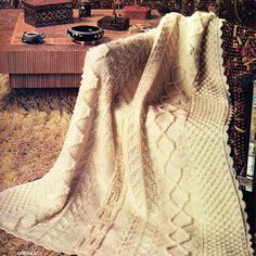 Afghan Crochet Pattern, Chenille Aran Crochet Afghan Pattern, Bridal Shower Gift…