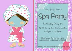 Spa Party Invitation - Printable -. $10.00, via Etsy. https://www.etsy.com/shop/babybaloo