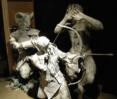 Statues of a dwarf, faun & satyr that were used in the making of The Lion, The Witch and the Wardrobe, characters turned to ice by the false queen of Narnia.