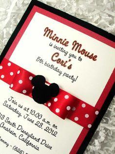 Polkadot ribbon minnie mouse invitations