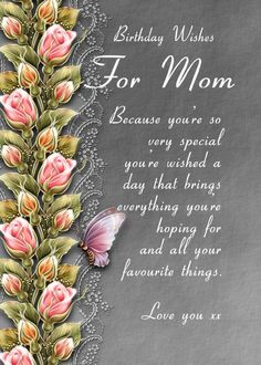Birthday Wishes For Grandma, Happy Birthday Mom Images, Birthday Greetings For Mother, Love Birthday Quotes, Birthday Message For Mom, Happy Birthday Mom Quotes, Happy Birthday In Heaven, Happy Birthday Mother, Birthday Wishes Messages