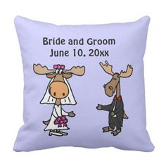 Humorous Moose Bride and Groom Wedding ceremony Design Throw Pillow.  Learn even more at the picture