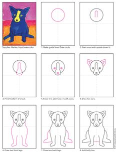 How to draw George Rodrigue's Blue Dog. PDF tutorial available. #rodrigue #bluedog
