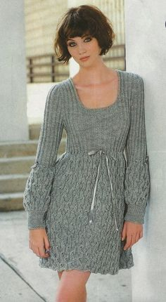 Made to order - An elegant hand knitted spring/winter dress. $285.00, via Etsy.