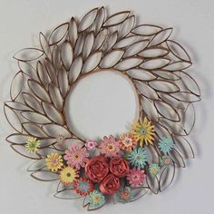 upcycle toilet paper rolls into this pretty wreath , bathroom ideas, crafts, wreaths
