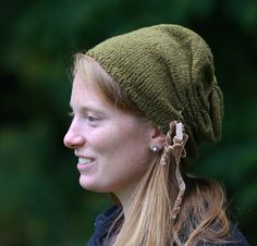 Slouchy Hat Hand Knit with Cinched Side