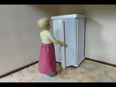 Kühlschrank Puppenhaus : Puppenhaus aus holz elektrifiziert mit einrichtung und familie