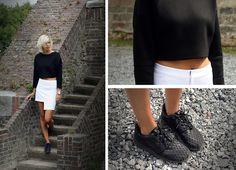 Zara Neoprene Sweater, Romwe Skirt, Nike Roshe Run Metric