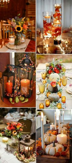 46 Inspirational Fall & Autumn Wedding Centerpieces Ideas Fall wedding and thanksgiving centerpieces ideas with candles. Help set the tone no matter what the occasion is. Fall Wedding Centerpieces, Thanksgiving Centerpieces, Fall Wedding Table Decor, Thanksgiving Wedding, Autumn Wedding Decorations, Thanksgiving Table, Fall Centerpiece Ideas, Fall Lantern Centerpieces, Lantern Diy