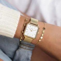 Gold Watches Women, Watches For Men, Vintage Watches Women, Ladies Watches, Gold Gold, White Gold, Style Androgyne, Bracelet Cuir, Bracelet Watch