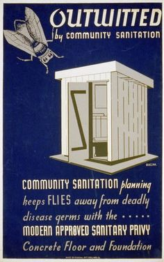 LOC Gov Doc: Outwitted by community sanitation ; Community sanitation planning keeps flies away from deadly disease germs… / Buczak via Library of Congress Exhibit: By the People, For the People: Posters from the WPA, Vintage Advertising Posters, Vintage Travel Posters, Vintage Advertisements, Vintage Ads, Poster Vintage, Vintage Medical, Vintage Graphic, Vintage Images, Vintage Style