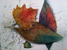 Set of 4 brilliant  Watercolor Leaf  prints  as by WatercolorTales, $16.00