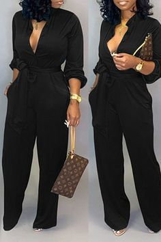 Lovely Work Lace-up Loose Black One-piece Jumpsuit We Offer Top Good Quality Cheap Clothes For Women And Men Clothing Wholesaler, Get Affordable Clothing At Worldwide. Green Fashion, White Fashion, Black Women Fashion, Black One Piece Jumpsuit, White Jumpsuit, Black Jumpsuit Outfit, Look Plus Size, Wholesale Clothing, Shoes Wholesale