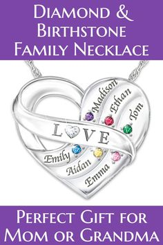Mothers necklace with names and birthstones - Thrill Mom, Grandma or your wife this year with this dazzling  sterling silver birthstone and diamond necklace.   #mothersjewelry #mothersnecklace #giftsforher