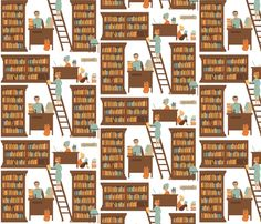 Librarians at Work gift wrapping paper by laurawilson on Spoonflower - custom fabric. Great company out of Durham, NC