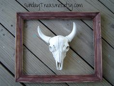 Framed Cow Skull Wall Decor / Faux Taxidermy / White / Home Decor. Sign / Urban Cowboy / Modern Chic / The Yetty. $54.00, via Etsy.