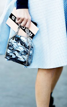A black and white swirl print makes this chained bag more interesting Style  Challenge 0ca675b3af44c